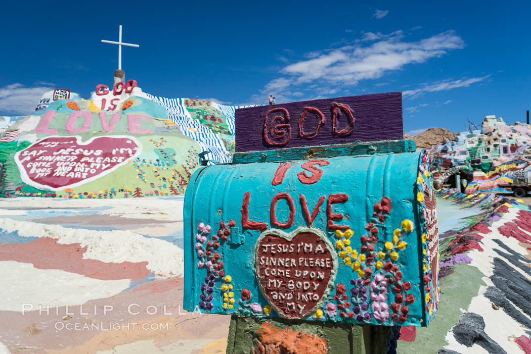 Salvation Mountain, the life work of Leonard Knight, near the town of Niland, California. USA, natural history stock photograph, photo id 29207