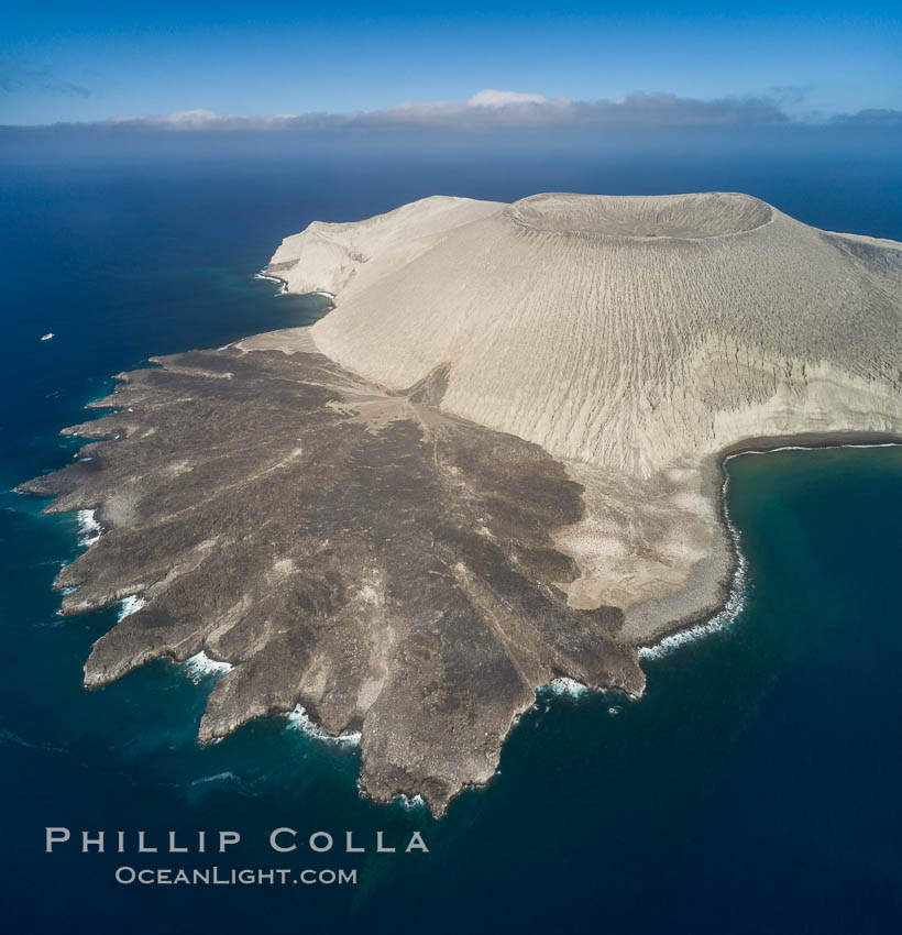 San Benedicto Island and Barcena crater, aerial photo, Revillagigedos Islands, Mexico. San Benedicto Island (Islas Revillagigedos), Baja California, natural history stock photograph, photo id 32915