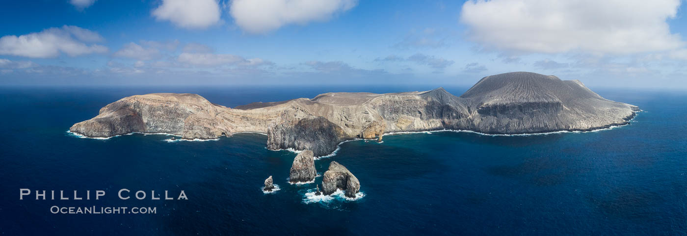 San Benedicto Island and Barcena crater, aerial photo, Revillagigedos Islands, Mexico. San Benedicto Island (Islas Revillagigedos), Baja California, natural history stock photograph, photo id 32919