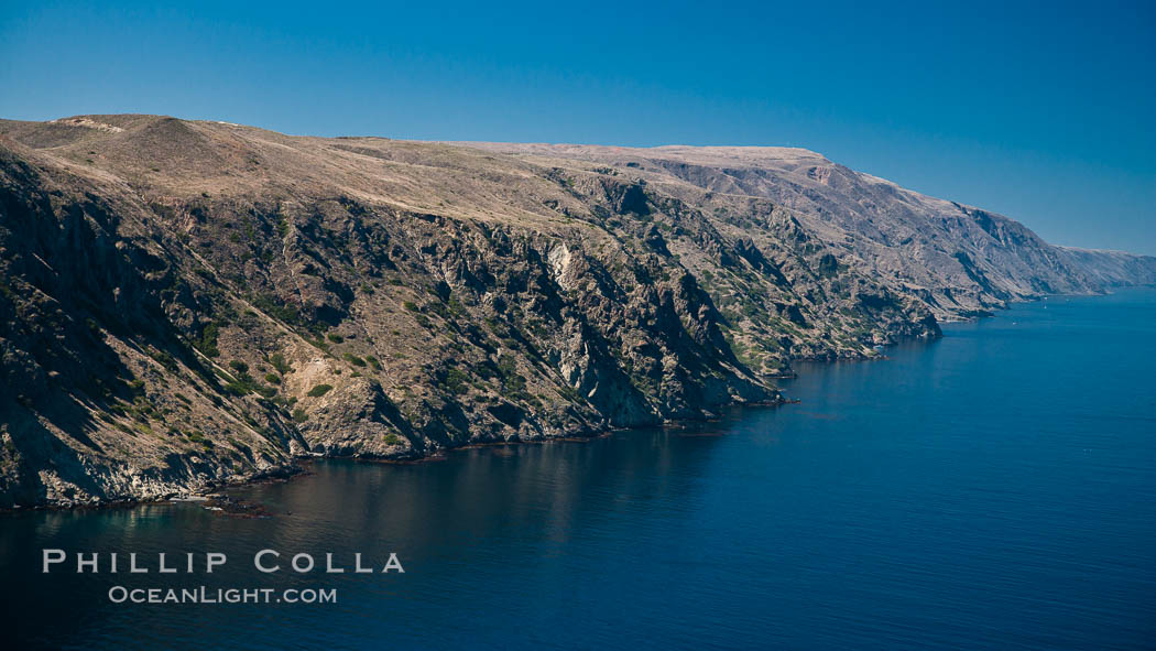 San Clemente Island, aerial photo, steep cliffs and mountainous terrain on the south eastern shore of the island. San Clemente Island, California, USA, natural history stock photograph, photo id 25981
