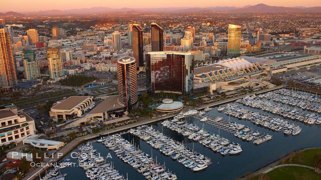 Embarcadero marina and San Diego Marriott hotel towers, along San Diego Bay. San Diego, California, USA, natural history stock photograph, photo id 22407