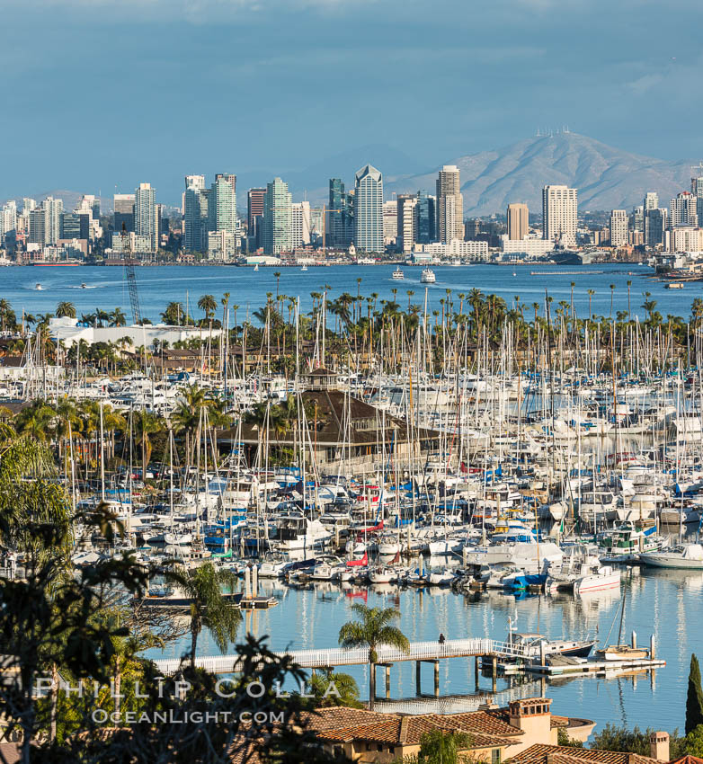 San Diego Bay and Skyline, viewed from Point Loma, panoramic photograph. California, USA, natural history stock photograph, photo id 30204