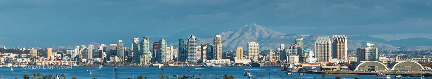 San Diego Bay and Skyline, viewed from Point Loma, panoramic photograph. San Diego, California, USA, natural history stock photograph, photo id 30203