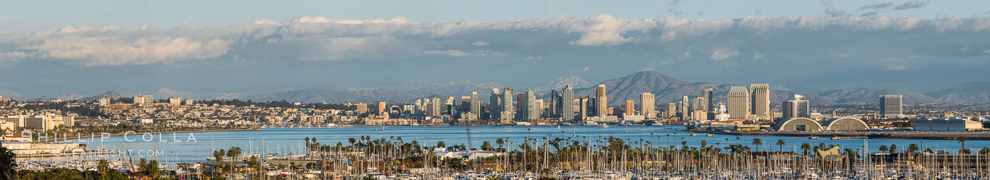 San Diego Bay and Skyline, viewed from Point Loma, panoramic photograph. California, USA, natural history stock photograph, photo id 30209