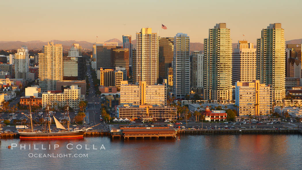 San Diego waterfront and skyline, Star of India (lower left), high rise modern office buildings, San Diego Bay, sunset. San Diego, California, USA, natural history stock photograph, photo id 22388