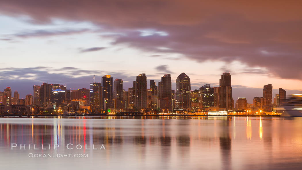 San Diego city skyline at dawn, from Harbor Island. California, USA, natural history stock photograph, photo id 26339