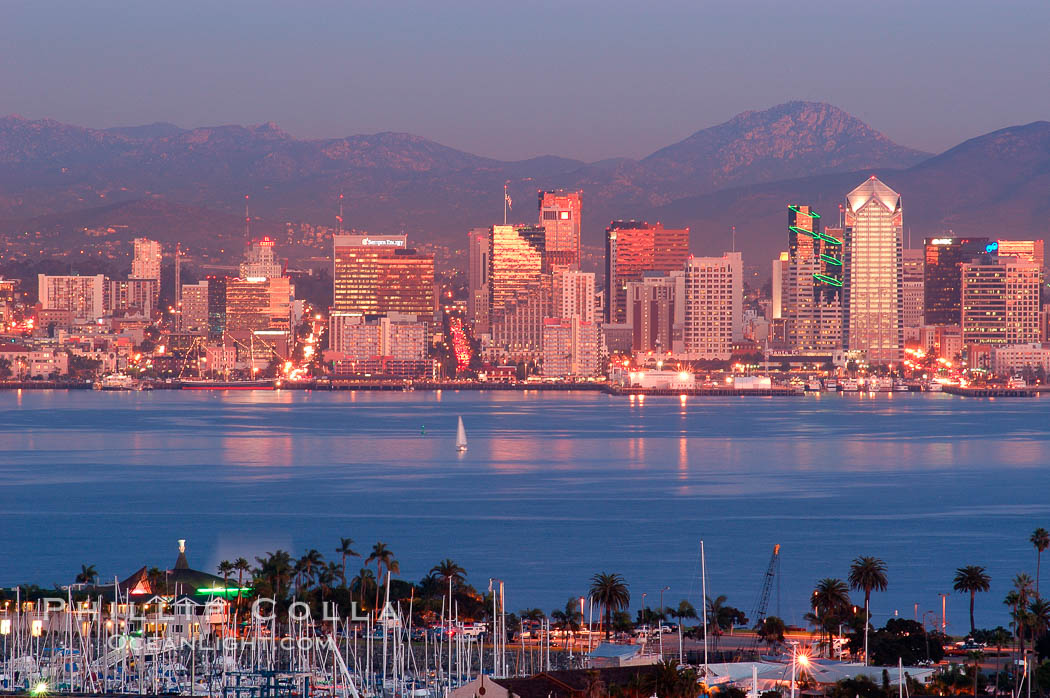 San Diego downtown skyline, viewed from Point Loma. San Diego, California, USA, natural history stock photograph, photo id 06482