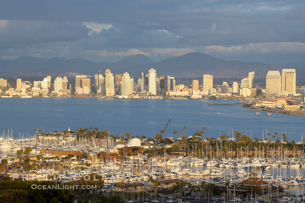 San Diego harbor skyline, late afternoon. San Diego, California, USA, natural history stock photograph, photo id 15674