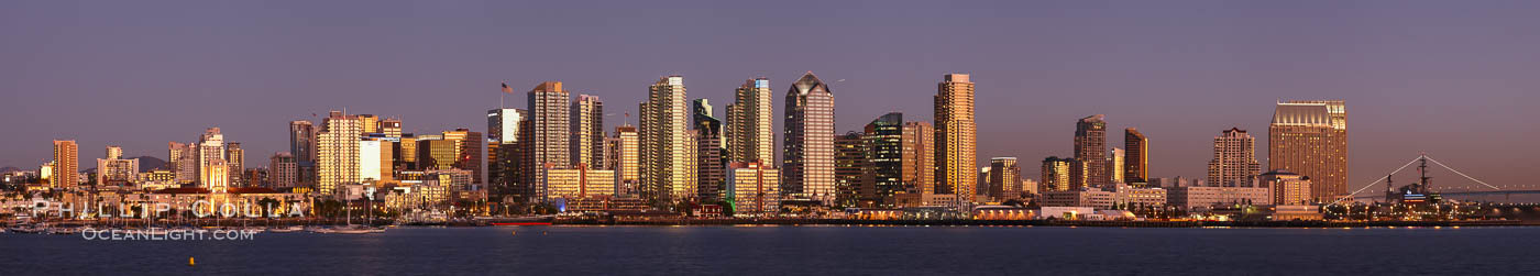 San Diego city skyline at sunset, showing the buildings of downtown San Diego rising above San Diego Harbor, viewed from Harbor Island.  A panoramic photograph, composite of six separate images. San Diego, California, USA, natural history stock photograph, photo id 22265
