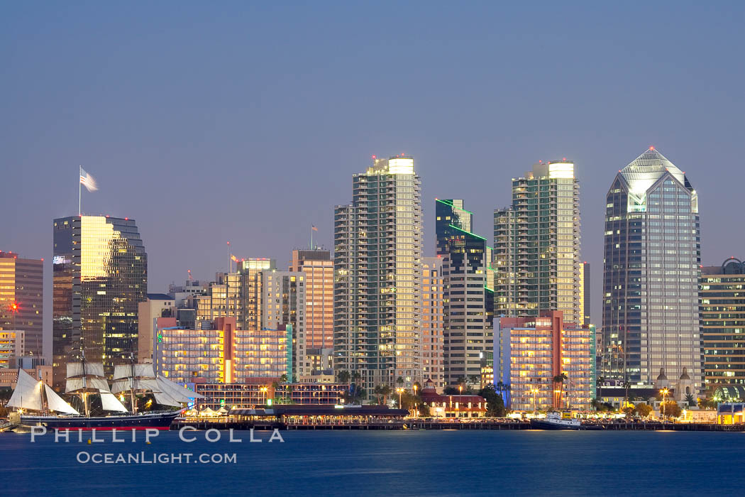 San Diego city skyline at dusk, viewed from Harbor Island, the Star of India at left. San Diego, California, USA, natural history stock photograph, photo id 14527
