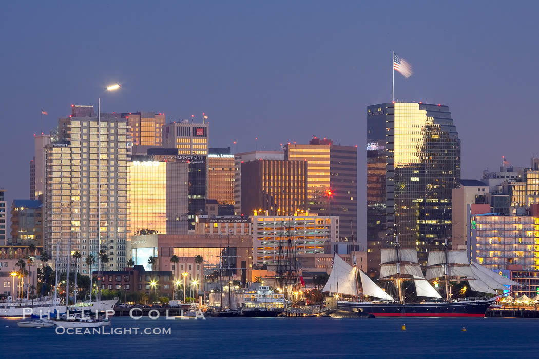 San Diego city skyline at dusk, viewed from Harbor Island, the Star of India at right. California, USA, natural history stock photograph, photo id 14533