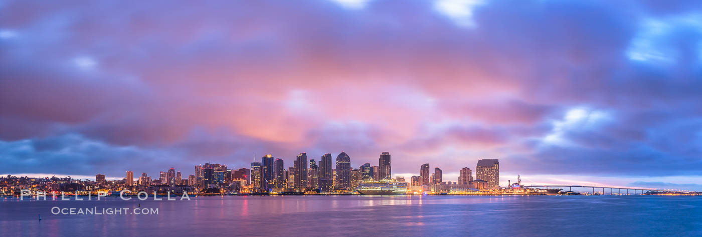 San Diego City Skyline viewed from Harbor Island, storm clouds at sunrise. California, USA, natural history stock photograph, photo id 28844