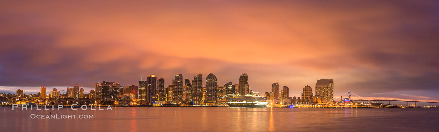 San Diego City Skyline viewed from Harbor Island, storm clouds at sunrise. California, USA, natural history stock photograph, photo id 28843