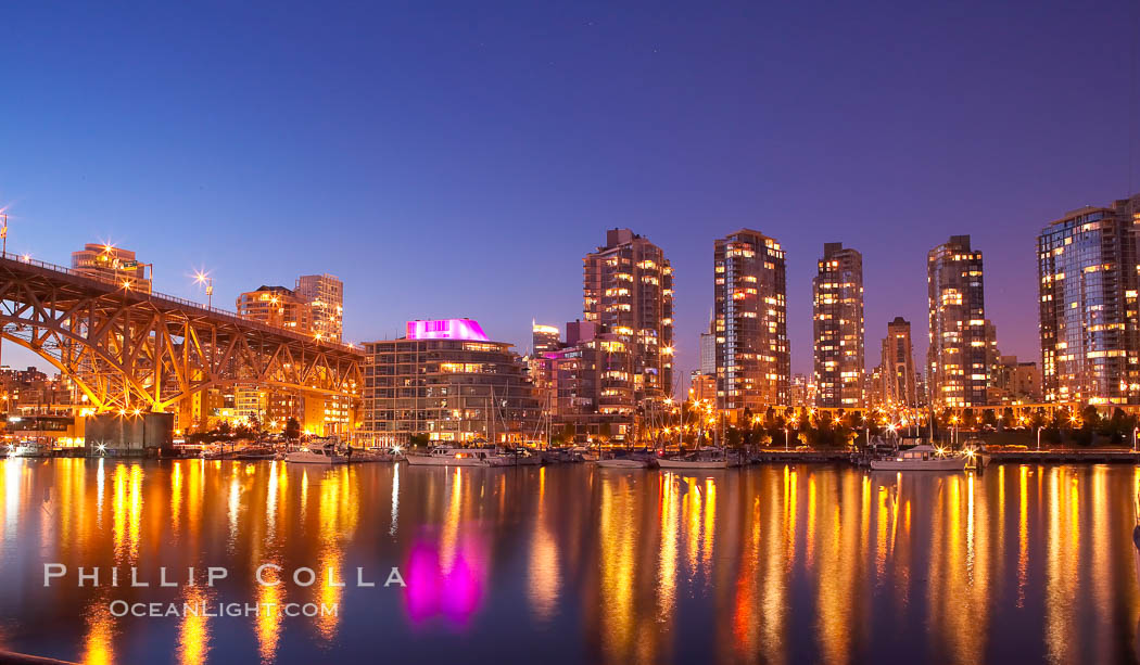 Yaletown section of Vancouver at night, including Granville Island bridge (left), viewed from Granville Island. Granville Island, Vancouver, British Columbia, Canada, natural history stock photograph, photo id 21168