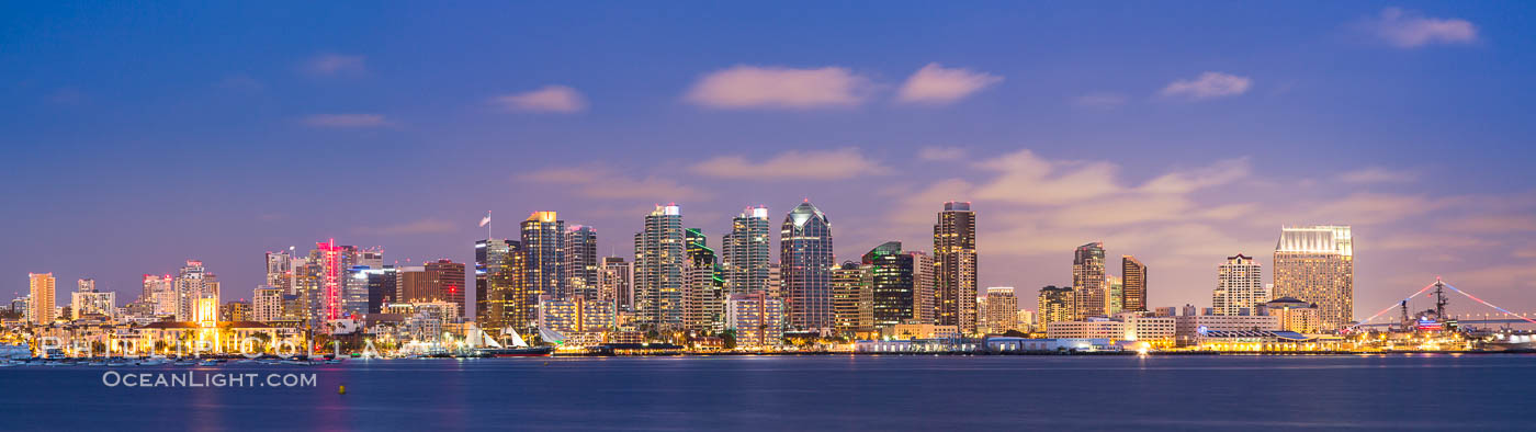 San Diego city skyline at sunset, showing the buildings of downtown San Diego rising above San Diego Harbor, viewed from Harbor Island. California, USA, natural history stock photograph, photo id 27889