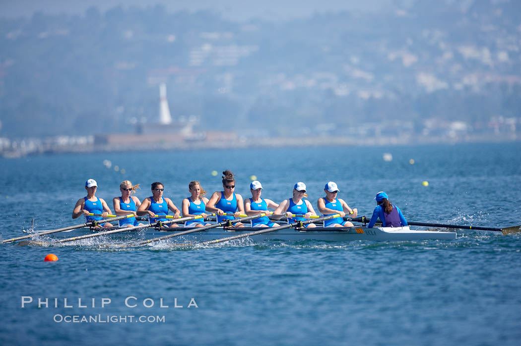 UCLA on their way to a third place finish in the women's JV final, 2007 San Diego Crew Classic. Mission Bay, San Diego, California, USA, natural history stock photograph, photo id 18650