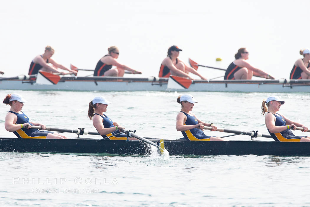 Cal (UC Berkeley) women's collegiate novice crew race in the finals of the Korholz Perpetual Trophy, 2007 San Diego Crew Classic. Mission Bay, California, USA, natural history stock photograph, photo id 18658