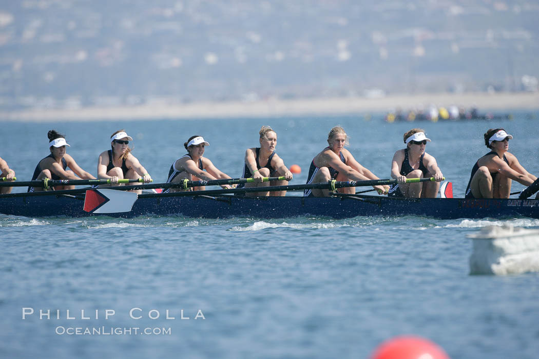 St. Mary's women race in the finals of the Women's Cal Cup final, 2007 San Diego Crew Classic. Mission Bay, California, USA, natural history stock photograph, photo id 18670
