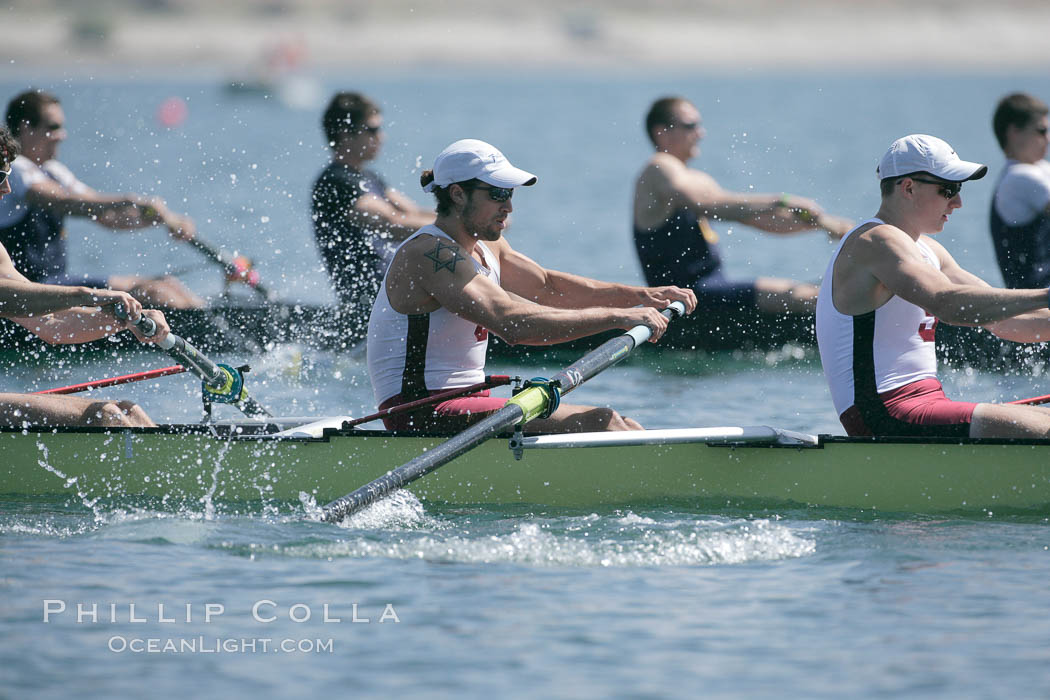 Stanford men en route to winning the Copley Cup, 2007 San Diego Crew Classic. Mission Bay, California, USA, natural history stock photograph, photo id 18690