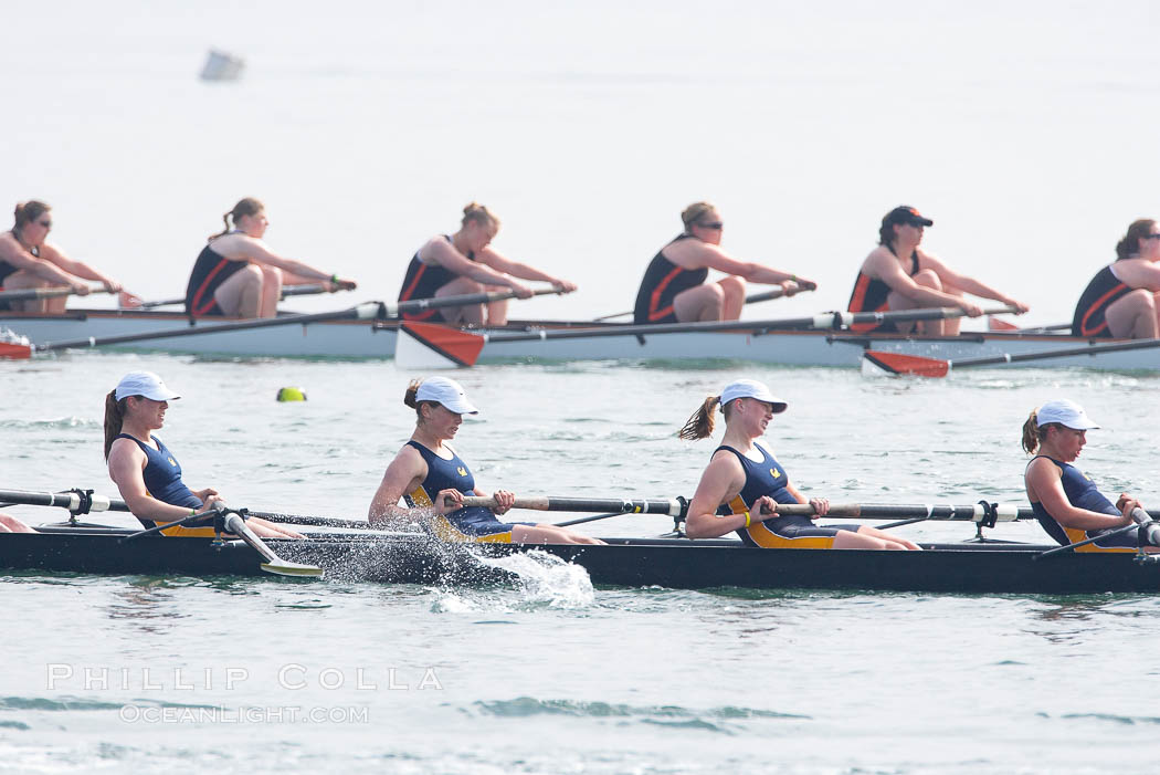 Cal (UC Berkeley) women's collegiate novice crew race in the finals of the Korholz Perpetual Trophy, 2007 San Diego Crew Classic. Mission Bay, California, USA, natural history stock photograph, photo id 18644