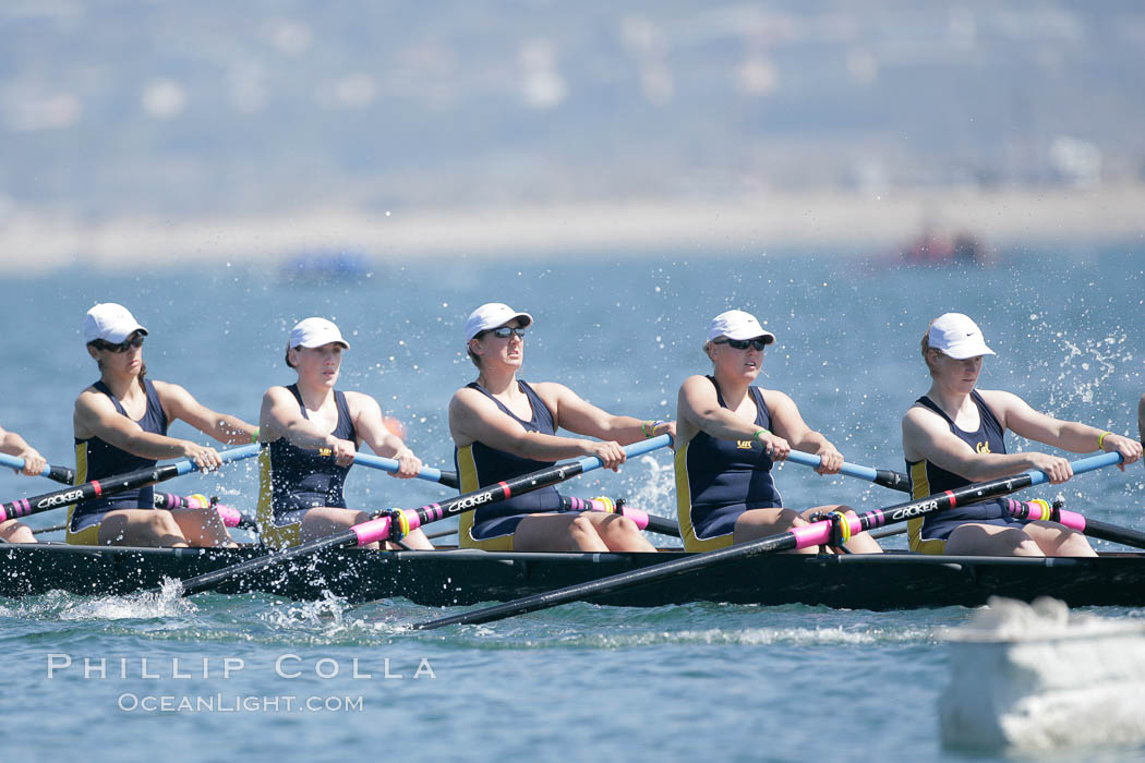 Image 18704, Cal (UC Berkeley) women en route to a second place finish in the Jessop-Whittier Cup final, 2007 San Diego Crew Classic. Mission Bay, California, USA, Phillip Colla, all rights reserved worldwide. Keywords: california, collegiate rowing, jessop-whittier cup, mission bay, san diego, san diego crew classic, usa.