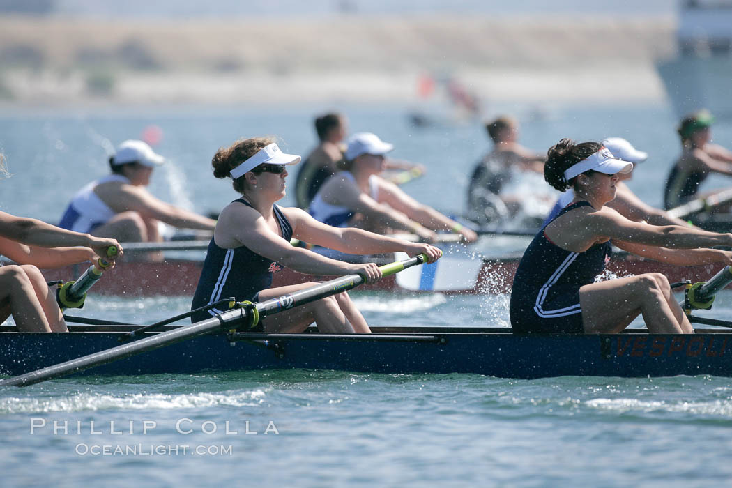 St. Mary's women race in the finals of the Women's Cal Cup final, 2007 San Diego Crew Classic. Mission Bay, San Diego, California, USA, natural history stock photograph, photo id 18647