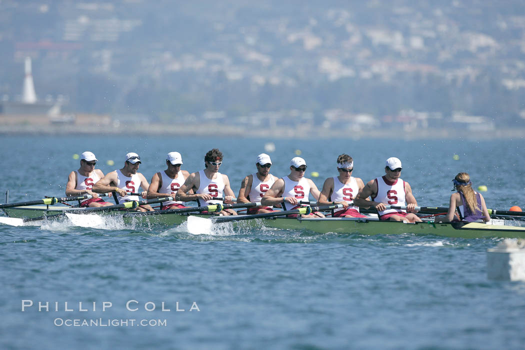 Stanford men en route to winning the Copley Cup, 2007 San Diego Crew Classic. Mission Bay, California, USA, natural history stock photograph, photo id 18655