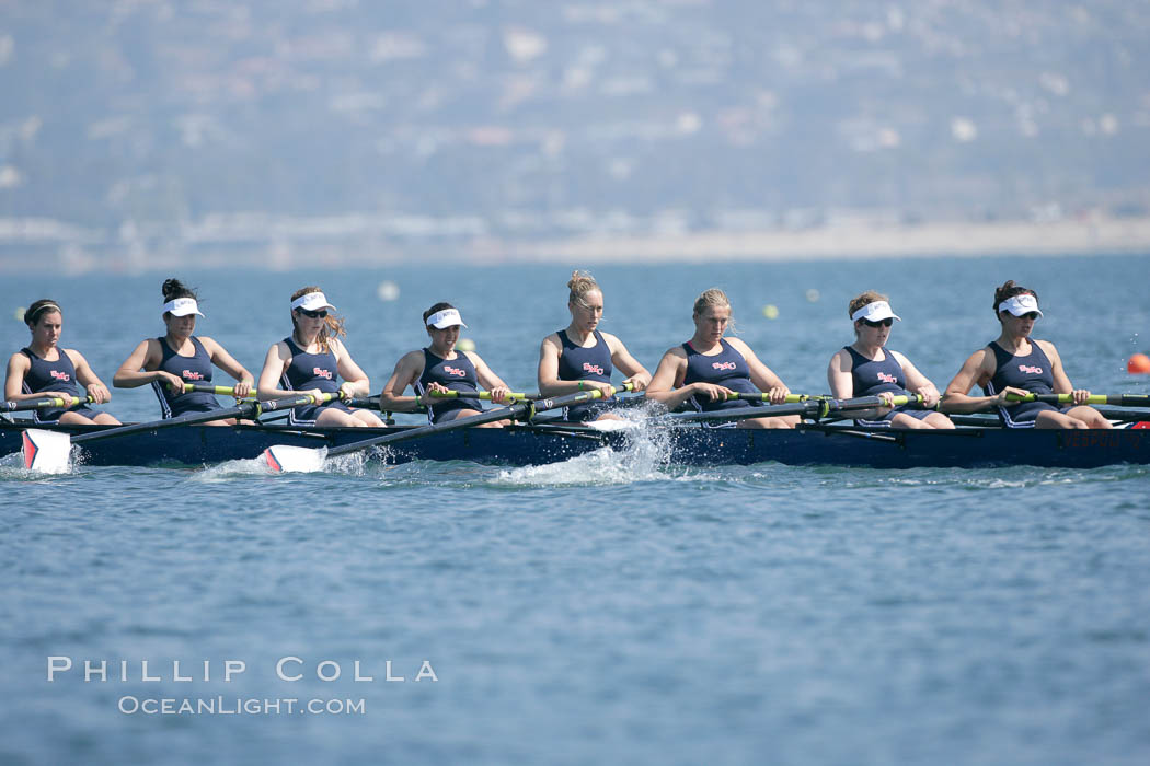 St. Mary's women race in the finals of the Women's Cal Cup final, 2007 San Diego Crew Classic. Mission Bay, California, USA, natural history stock photograph, photo id 18671