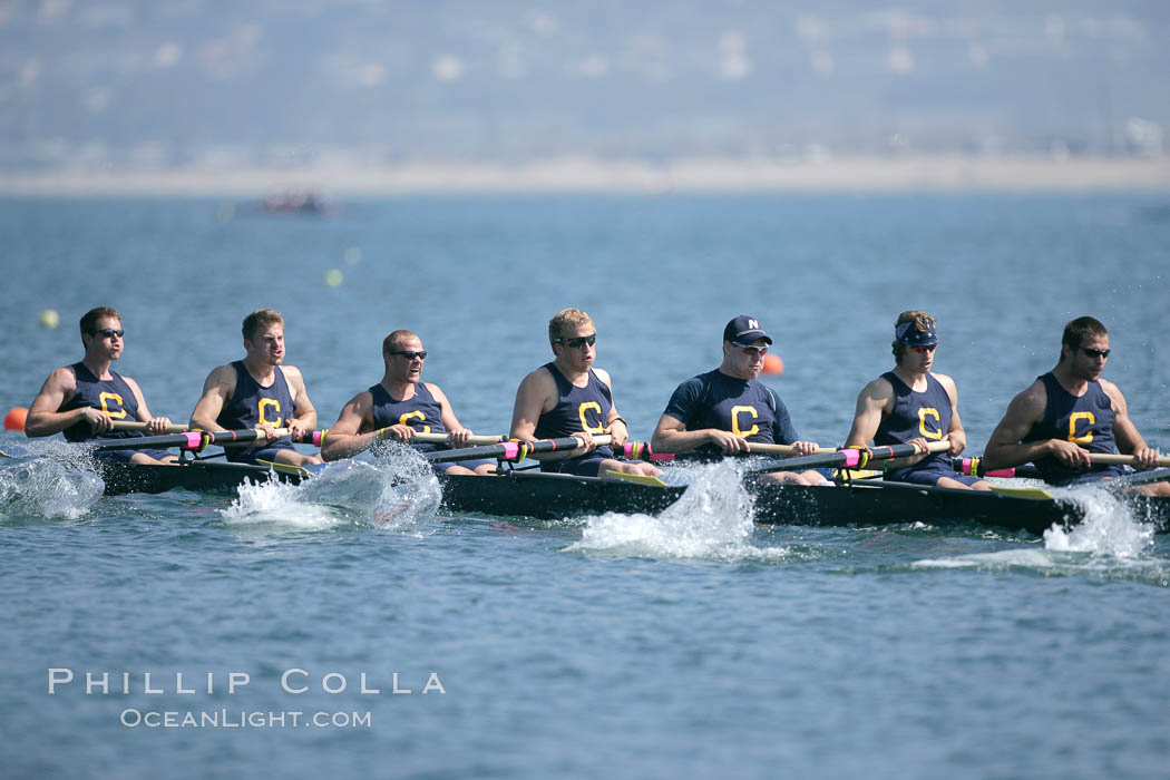 Cal (UC Berkeley) on their way to winning the men's JV final, 2007 San Diego Crew Classic. Mission Bay, San Diego, California, USA, natural history stock photograph, photo id 18665