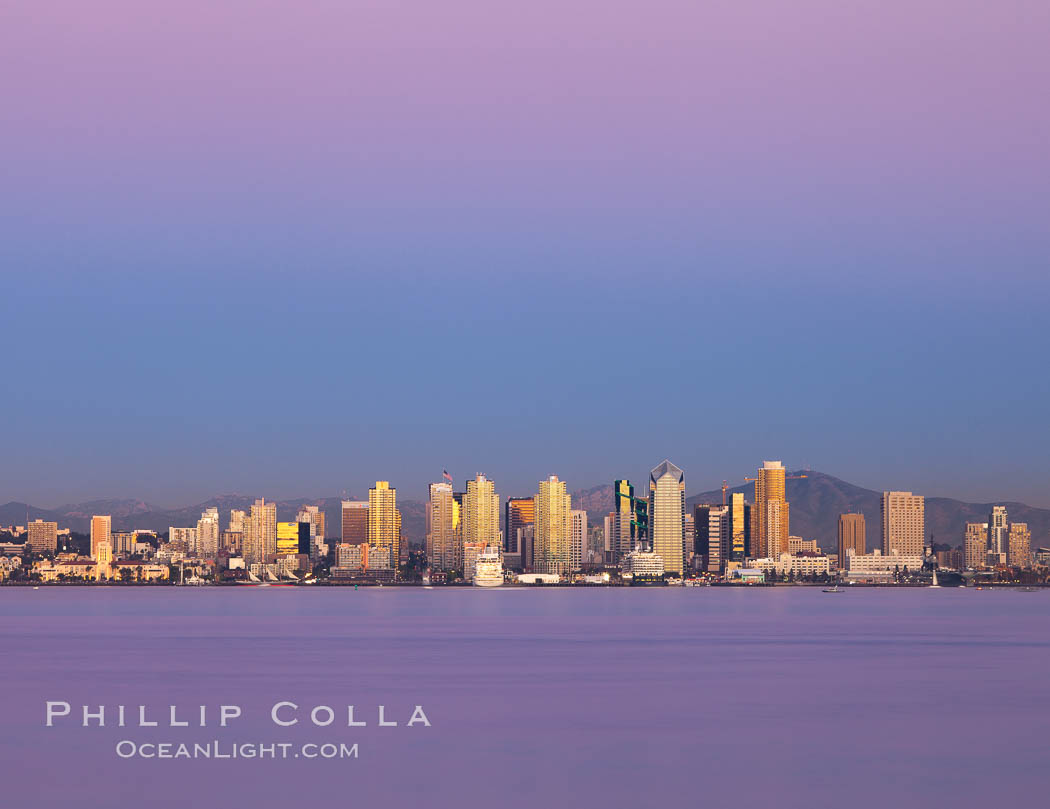 San Diego downtown city skyline and waterfront, sunset reflections and San Diego Bay. Earth-shadow (Belt of Venus) visible in the atmosphere. San Diego, California, USA, natural history stock photograph, photo id 27102