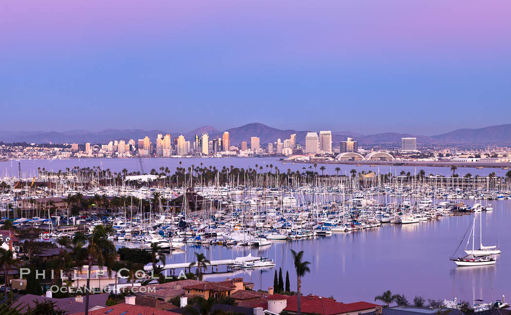 San Diego harbor and skyline, viewed at sunset. California, USA, natural history stock photograph, photo id 27147