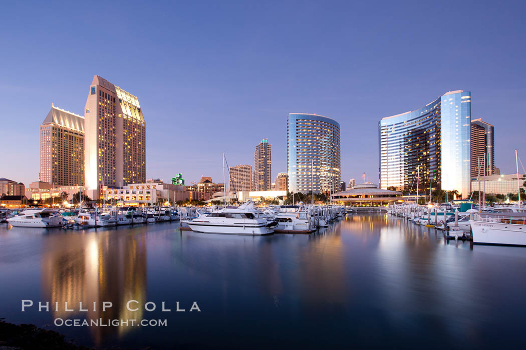 San Diego Marriott Hotel and Marina, and Manchester Grand Hyatt Hotel (left) viewed from the San Diego Embarcadero Marine Park. San Diego, California, USA, natural history stock photograph, photo id 26570