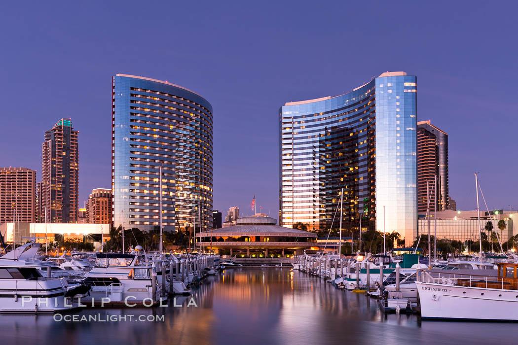 San Diego Marriott Hotel and Marina, viewed from the San Diego Embarcadero Marine Park. San Diego, California, USA, natural history stock photograph, photo id 26569