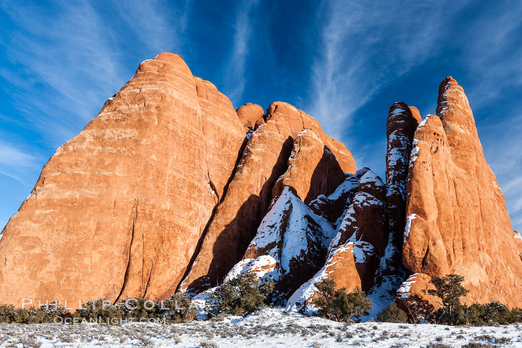 Fins.  The vertical slabs of Entrada sandstone may become natural sandstone arches. Arches National Park, Utah, USA, natural history stock photograph, photo id 18187