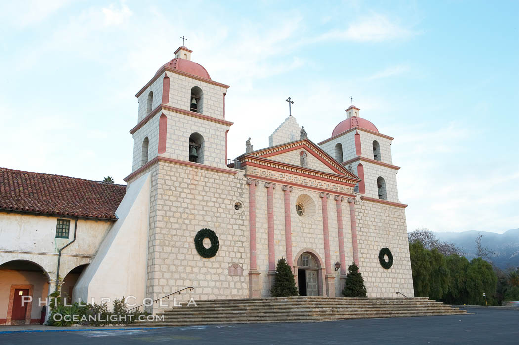 The Santa Barbara Mission.  Established in 1786, Mission Santa Barbara was the tenth of the California missions to be founded by the Spanish Franciscans.  Santa Barbara. USA, natural history stock photograph, photo id 14888