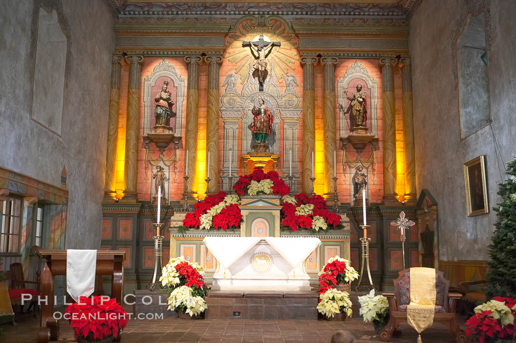 Inside of the parish of the Santa Barbara Mission.  Established in 1786, Mission Santa Barbara was the tenth of the California missions to be founded by the Spanish Franciscans.  Santa Barbara. Santa Barbara Mission, Santa Barbara, California, USA, natural history stock photograph, photo id 14891