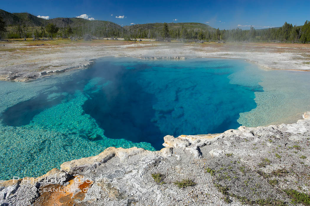 Sapphire Pool, Biscuit Basin.  Sapphire Pool is known as a hot spring but has erupted as a geyser in the past. Yellowstone National Park, Wyoming, USA, natural history stock photograph, photo id 13495