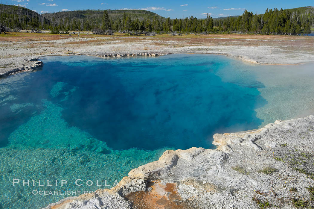 Sapphire Pool, Biscuit Basin.  Sapphire Pool is known as a hot spring but has erupted as a geyser in the past. Biscuit Basin, Yellowstone National Park, Wyoming, USA, natural history stock photograph, photo id 13497
