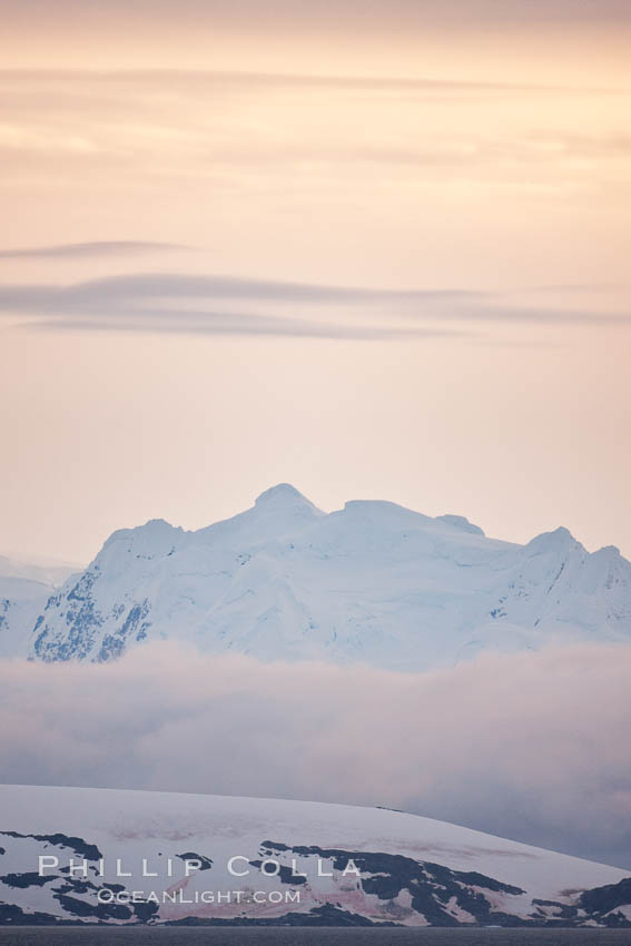 Scenery in Gerlache Strai.  Clouds, mountains, snow, and ocean, at sunset in the Gerlache Strait, Antarctica. Antarctic Peninsula, natural history stock photograph, photo id 25659