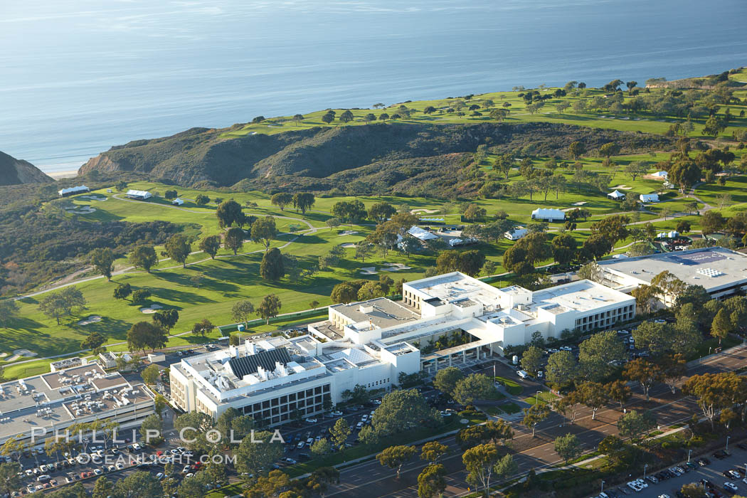 Scripps Clinic and Torrey Pines Golf Course, with the Pacific Ocean in the distance. La Jolla, California, USA, natural history stock photograph, photo id 22318