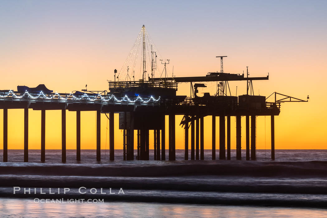 Scripps Institution of Oceanography Research Pier at sunset, with Christmas Lights and Christmas Tree. La Jolla, California, USA, natural history stock photograph, photo id 36613