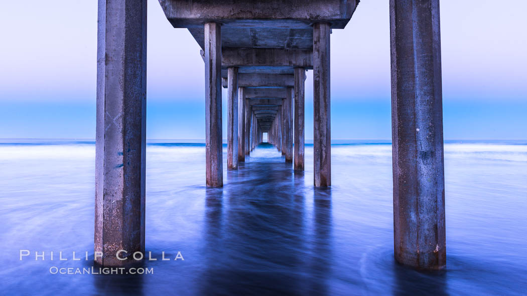 Scripps Pier and moving water, pre-dawn light, La Jolla. La Jolla, California, USA, natural history stock photograph, photo id 28984