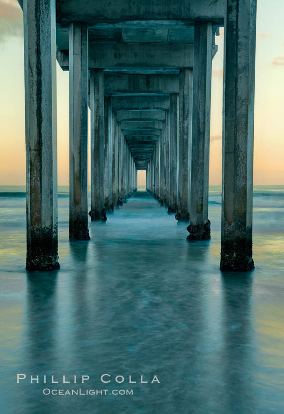 Scripps Pier, predawn abstract study of pier pilings and moving water. Scripps Institution of Oceanography, La Jolla, California, USA, natural history stock photograph, photo id 26340