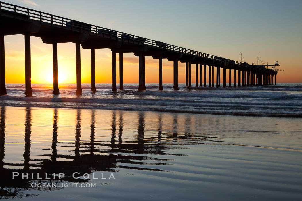 Research pier at Scripps Institution of Oceanography SIO, sunset. La Jolla, California, USA, natural history stock photograph, photo id 26542