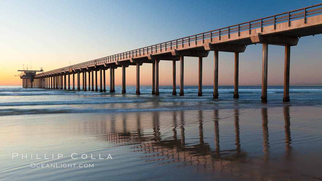 Research pier at Scripps Institution of Oceanography SIO, sunset. La Jolla, California, USA, natural history stock photograph, photo id 26540