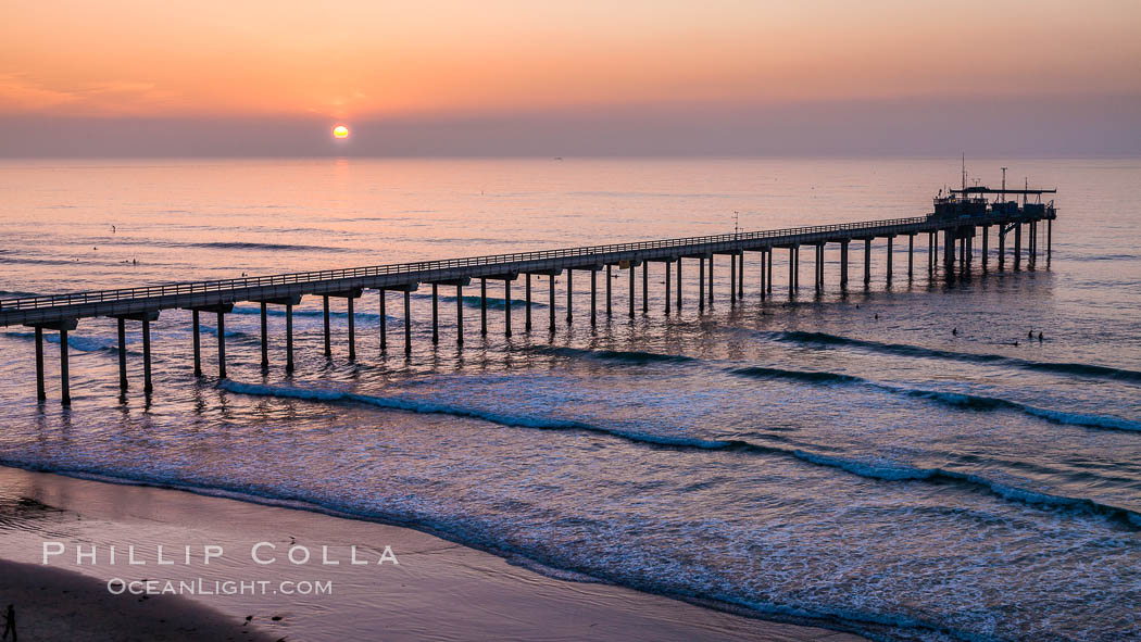 Scripps Pier, Scripps Institute of Oceanography Research Pier, sunset. La Jolla, California, USA, natural history stock photograph, photo id 28268