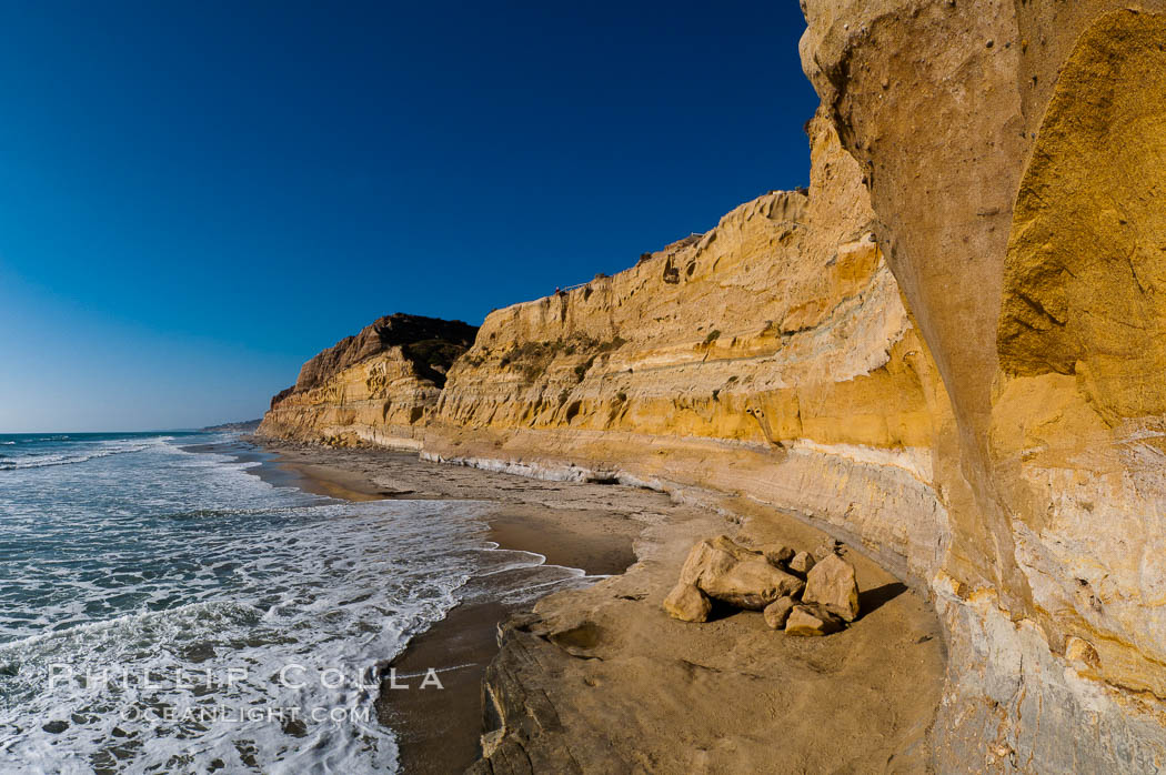 Torrey Pines bluffs, sea cliffs that rise above the Pacific Ocean, extending north towards Del Mar. Torrey Pines State Reserve, San Diego, California, USA, natural history stock photograph, photo id 26790