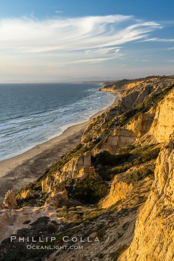 Sea cliffs at sunset over Black's Beach, looking north toward Torrey Pines State Beach. La Jolla, California, USA, natural history stock photograph, photo id 29174