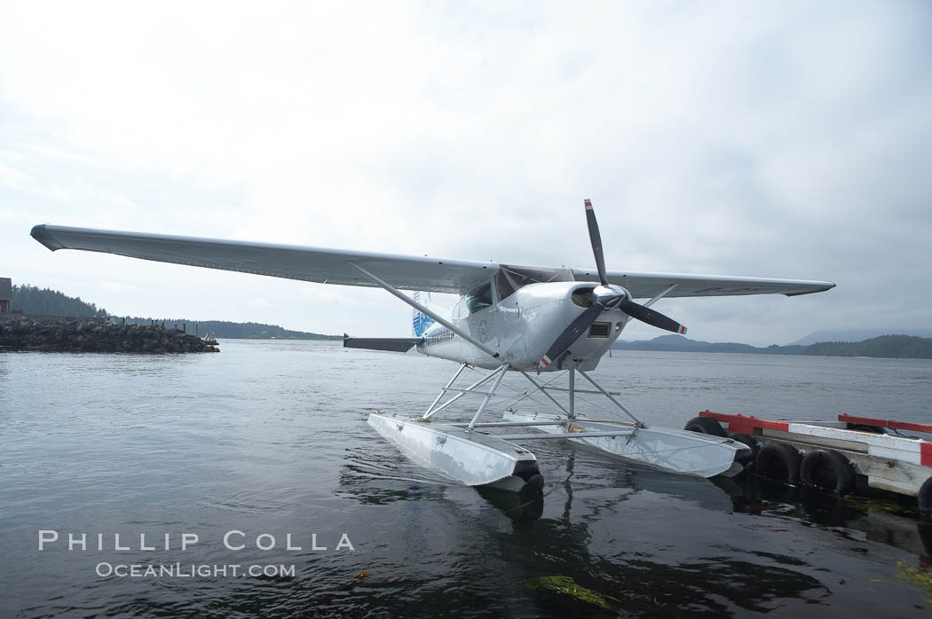 Seaplane at the floatplane dock in Tofino, typical overcast day. British Columbia, Canada, natural history stock photograph, photo id 21076