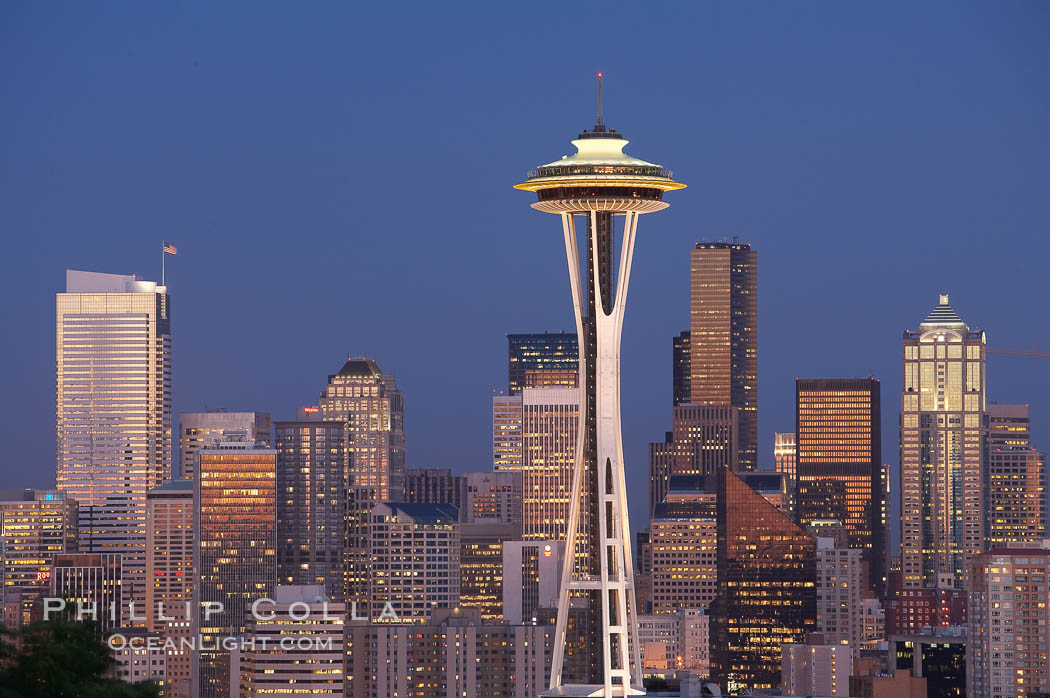 Seattle city skyline at dusk, Space Needle at right. Washington, USA, natural history stock photograph, photo id 13663